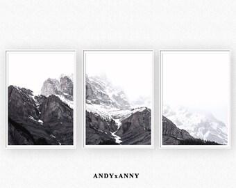 Mountain Poster, Printable Wall Art, Minimalist Art, Mountain Print Set, Wall Art Set of 3 Prints, Nordic Art Print, Nature, Mountain Print
