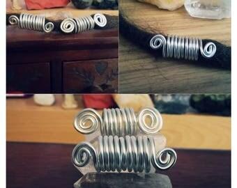 Handmade Silver wire spiral jewellery beads for dreadlocks