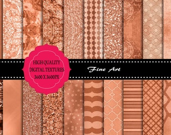 20 x Rose Gold Textured Digital Papers, High Resolution, Design Element, Instant Download.