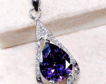 2CT Amethyst and White Topaz ~ .925 Solid Genuine Sterling Silver Pendant, Necklace with Chain.
