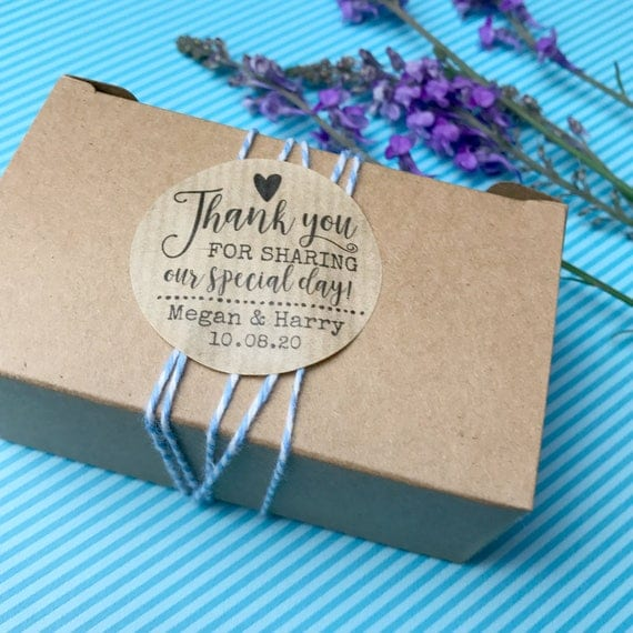 Wedding stickers thank you for celebrating with us, Personalized stickers for wedding favours uk,  Wedding favor rustic sticker