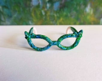 Blues and greens doll dollhouse glasses repainted eyewear, mermaid doll, doll clothing and accessories USA, ocean sea beach theme doll