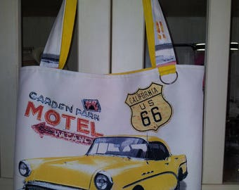 Route 66 Tote to carry a shoulder cars double California us 40 yellow motifs / 31cm