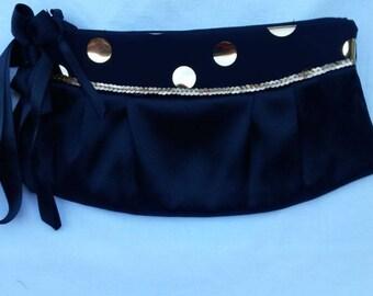 evening clutch / evening bag / handbag for women with fabric polka dot black satin clutch evening bag gold