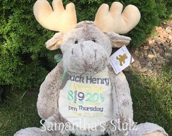 Personalized Jumbo stuffed Moose, Personalized gift, Birth Announcement, Stuffed Animal, Adoption Gift, Shower Gift, Big Sibling gift