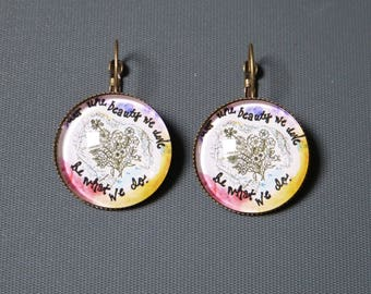 Earrings cabochon flower & writing