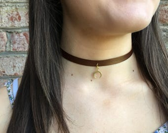 Brown Leather Choker w/ Horn Charm