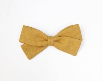 Mustard Yellow Bow - Classic Bow - Fall Hair Bows - Baby Headband - Bows For Girls - Toddler Headbands - Girl Headbands