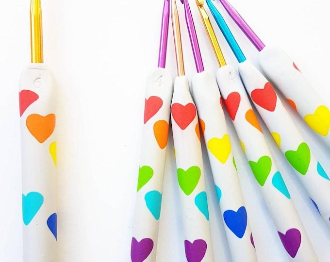 Polymer clay ergonomic rainbow heart crochet hook