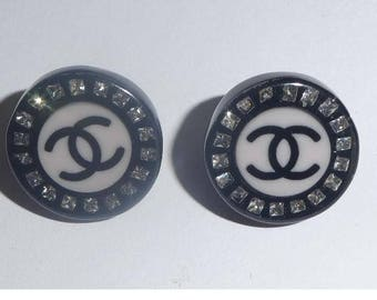 Chanel Earrings. Resin Stud Entwined CC logo. Hallmarked. Authentic