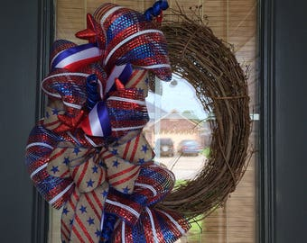 Red white and blue wreath, Patriotic grapevine wreath, 4th of july wreath