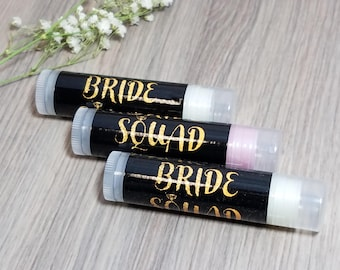 Bride Squad Bachelorette Party Lip Balm Favors | Bachelorette Party Favors | Bachelorette Party Gifts | Gifts and Mementos | Bridesmaid Gift