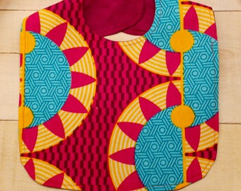 Orange Red Turquoise Sun African Wax Print Baby Bib