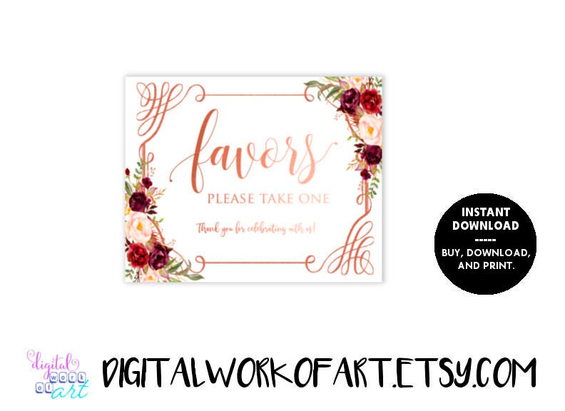 Wedding Favors Sign Printable Floral Love Is Sweet Colorful