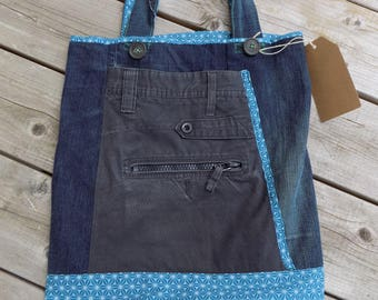 """Tote bag, recycled fabrics, """"Origami"""""""