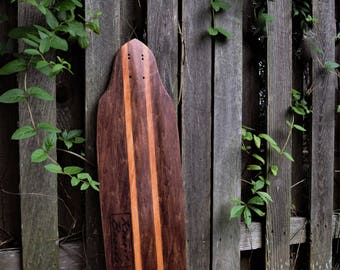 Custom Red Mahogany With Gunstock Surfstripes Longboard/Skateboard Cruiser