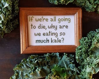So Much Kale framed cross stitch