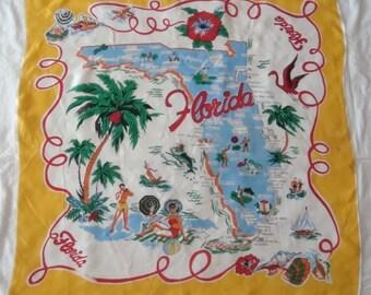 "Vintage 1950's Souvenir FLORIDA Silk Scarf Pre-Disney Gold 30"" Square"