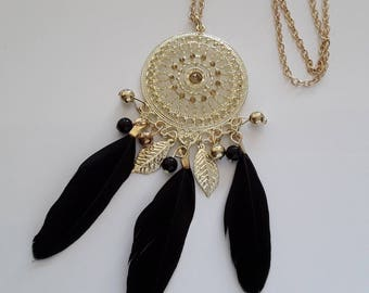 Black and gold dream catcher necklace