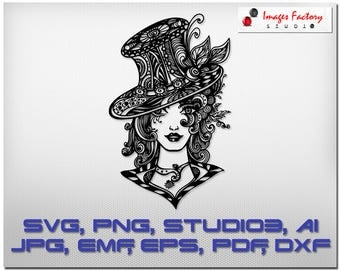 Zentangle Girl Hat mandala files - cuttable Cricut Design Space Silhouette Digital Cut Files Instant Download, svg dxf studio3 zen doodle