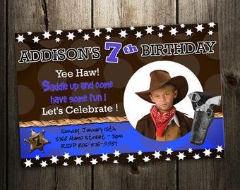 Cowboy birthday invitation party invites printable