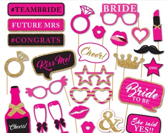 Printable HOT PINK Bridal Shower Photobooth Props - Wedding Photo Booth Props - Bachelorette Party Props - Bride To Be -  Instant Download