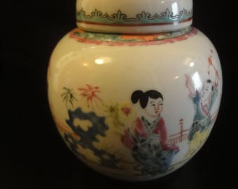 Chinese Ginger Jar depicting portrait scenes  with  lid height 13cn aprox