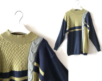 "Olive colorblocking sweater S / M ""Ryan"" men's sweater, braid-knitted pullover, vintage jumper, 90s clothing, free shipping over USD35"