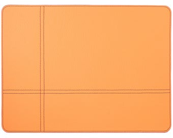 Discounted Set Of 4 Placemats / Orange Place Mats With Small Defects /  Recycled Leather /