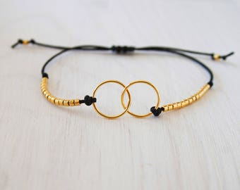 Forever bracelet and muyuki gold plated beads on cord - Creation of sparkle