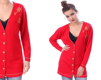 Red Cardigan Sweater Jacket 80s Grandma Embroidery Gold Button Up Mod Knit Grunge Boho 1980s Vintage Retro Knit Small to Medium