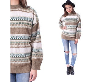 Striped Patterned Sweater 80s Aztec Print Tribal Grunge Slouchy 1980s Vintage White Green Beige Pullover Jumper Knit Abstract Medium