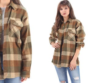 Flannel Shirt 90s Buffalo Plaid Moss Green Beige Grunge Snap Button Up Lumberjack Vintage  Long Sleeve Pockets Unisex Shirt Retro Large