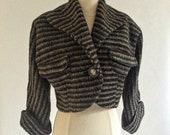 Amazing late 1940s Wool Bolero Jacket with Single Button