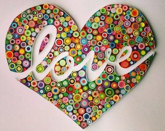"""Quilling paper art design: """"love"""""""