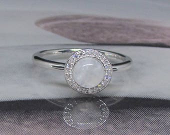 Ring silver and Moonstone (Cabochon) size 52