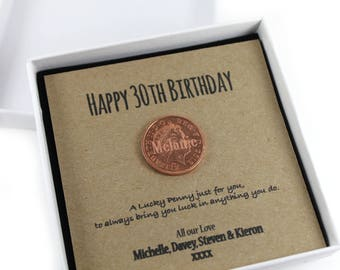 Personalised Happy 30th Birthday Keepsake Gift, Lucky Penny Birthday Gift.