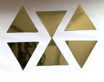 Set of 6 Golden color sequins, Golden Colour triangle sequins, Big triangle sequins from India, Metal look Sequins