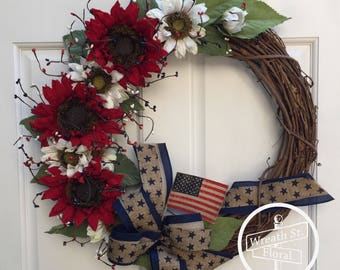 Patriotic Wreath, Sunflower Wreath, 4th of July Wreath, Summer Wreath, Front Door Wreath, Grapevine Wreath, Wreath Street Floral,Flag Wreath
