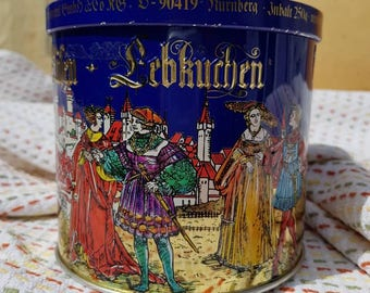 Nuremberg Renaissance Collectible Canister German Christmas Tea Tin Haeberlein Metzger Lebkuchen Box Biscuit Container Shipping Included