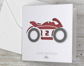 Personalized / Personalised Happy Birthday 3D Card Motorbike
