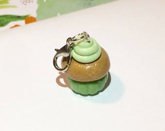 Green cupcake charm- keychain- bracelet charm- zipper pull