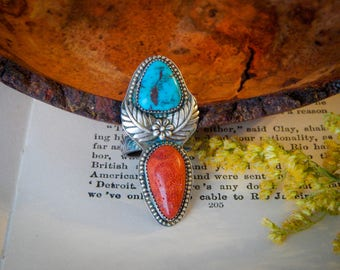 Into the Wild, Coral and Egyptian Turquoise Sterling Silver Handcrafted ring, size 8.25
