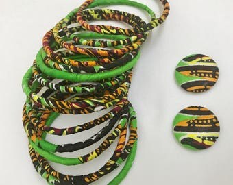 African bangle set,Tribal Jewellery ,Ankara bangles & Medium button earrings