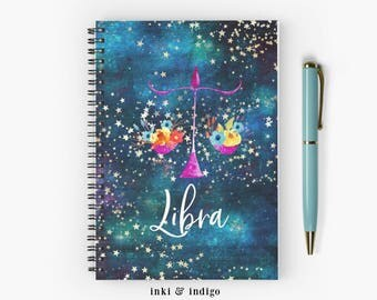 Libra - Spiral Notebook With Lined Paper, A5 Writing Journal, Cute Diary, Ruled Pages, Zodiac Sign Journal, Astrology