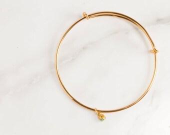 Raw Emerald Bracelet, Birthstone Bracelet, Rough Emerald Jewelry, Rough Gemstone Bracelet, Raw Gemstone Stacking Bracelet, Gift for Her