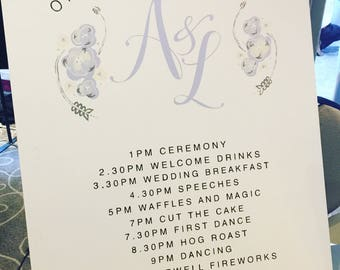 Wedding sign, order of the day, personalised, hand painted, venue sign