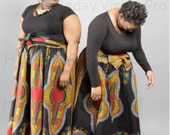 All African Print Dashiki Swing Skirts - 59.95 / Women Plus Sizes / African Clothing / Maxi Skirts / Traditional / Ankara / Just Skirting By