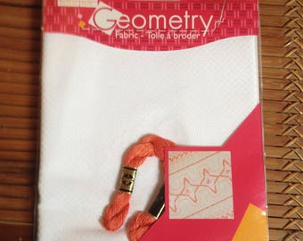 canvas Geometry white DMC embroidery FLOSS