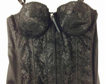 Vintage 70's black lace bustier corset